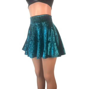 Skater Skirt - Teal Crushed Velvet - Peridot Clothing