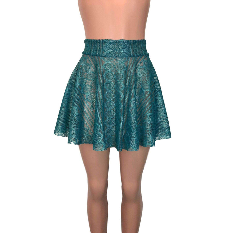 Skater Skirt - Teal Metallic Lace - Peridot Clothing