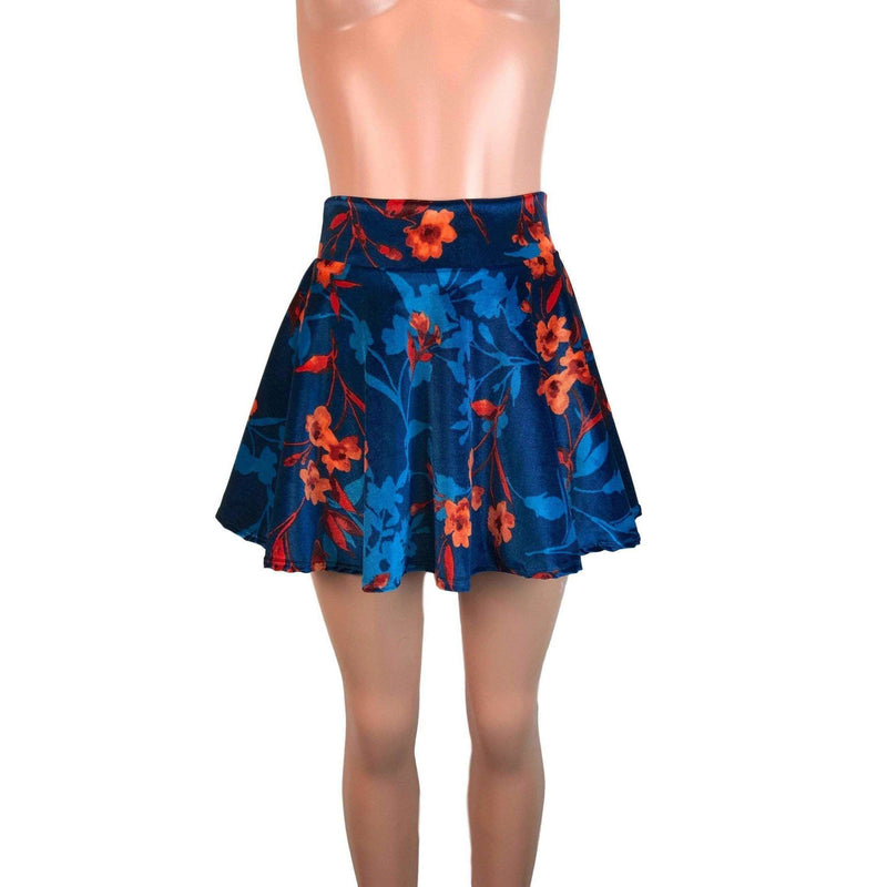 Skater Skirt - Teal/Orange Floral Velvet - Peridot Clothing