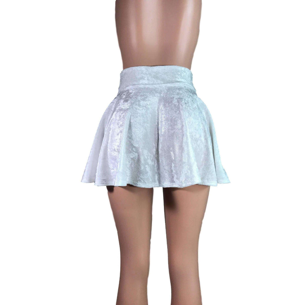 Skater Skirt - White Crushed Velvet - Peridot Clothing