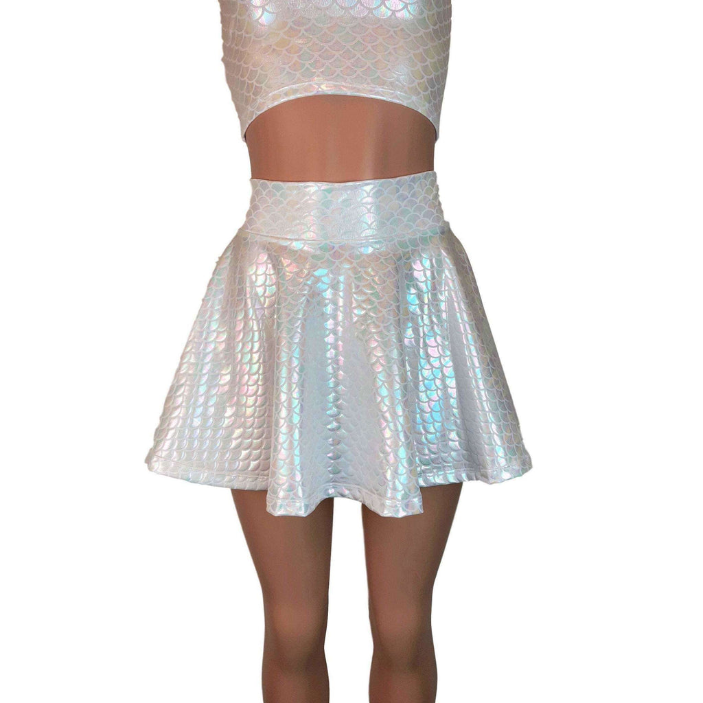 Iridescent White Mermaid Skirt or Dragon Scales Skater Skirt - Peridot Clothing