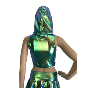 Sleeveless Cropped Hoodie - Oil Slick Holographic - Peridot Clothing