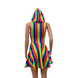 Sleeveless Rainbow Hoodie Skater Dress - Peridot Clothing