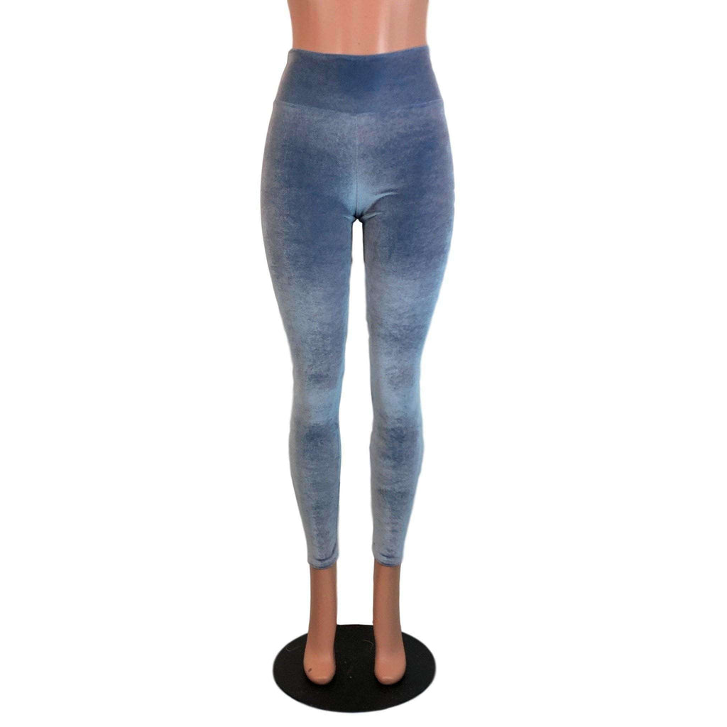 Smoky Blue Velvet High Waisted Leggings Pants - Peridot Clothing