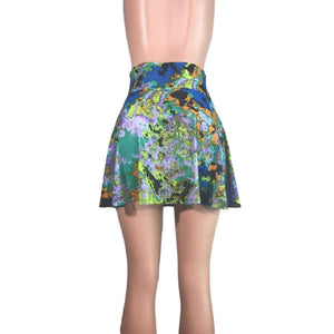 Splatter High Waisted Skater Skirt - Clubwear, Rave Wear, Mini Circle Skirt - Peridot Clothing