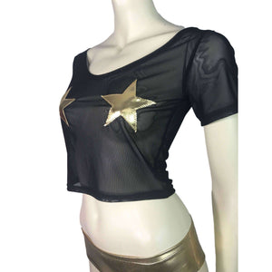 Stars Black Mesh Cropped Tee Shirt Top - Peridot Clothing