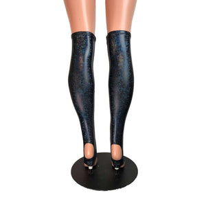 Stirrup Leg Sleeves - Black Holographic Shattered Glass, Calf Sleeves - Peridot Clothing