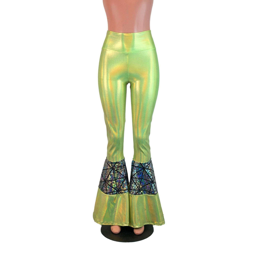 Tiered Bell Bottom Flares  - Lime Green/Silver Glass Pane - Peridot Clothing