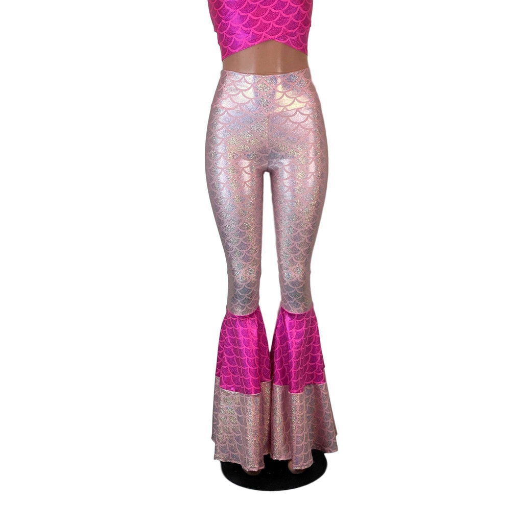 Tiered Bell Bottom Flares - Pink Mermaid Scales - Peridot Clothing