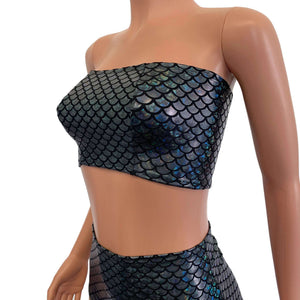 Tube Top Bandeau - Black Mermaid Scales - Peridot Clothing
