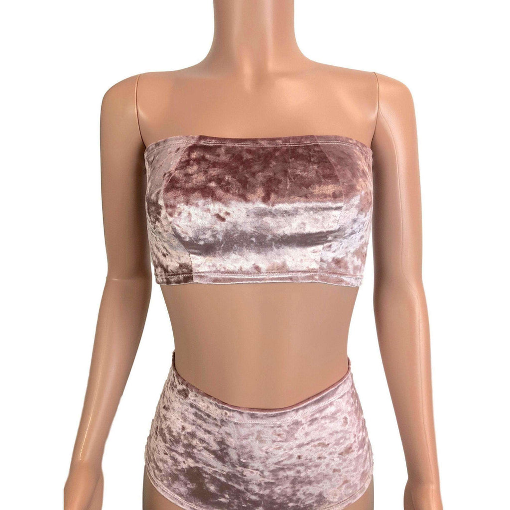 Tube Top Bandeau - Dusty Pink Crushed Velvet - Peridot Clothing