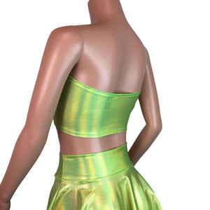 Tube Top Bandeau - Lime Green Holographic - Peridot Clothing