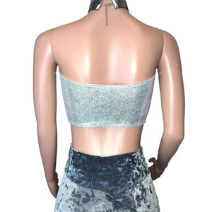 Tube Top Bandeau - Silver Holographic, women's tops