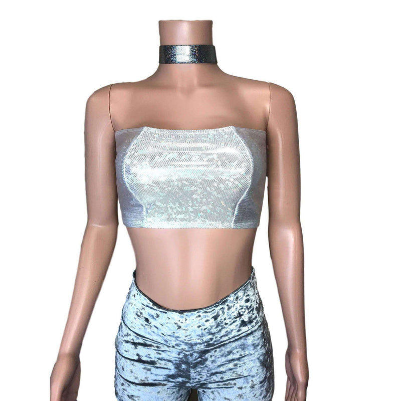 Tube Top Bandeau - Silver Shattered Glass Holographic, women's tops
