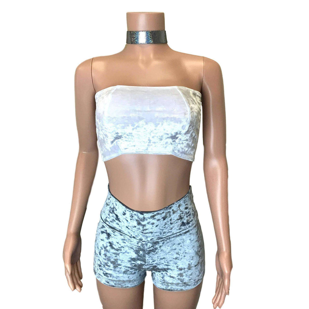 Tube Top Bandeau - White Crushed Velvet - Peridot Clothing