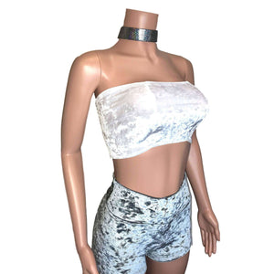 Tube Top Bandeau - White Crushed Velvet, women's tops