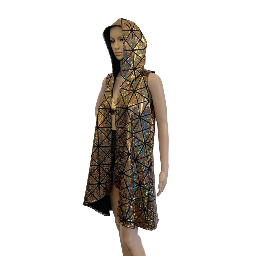 Unisex Hooded Sleeveless Rave Kimono Robe - Gold Glass Pane Holographic - Peridot Clothing