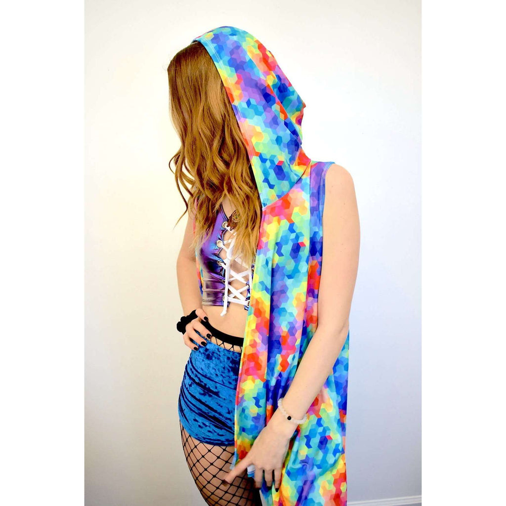 Unisex Hooded Sleeveless Rave Kimono Robe - Rainbow Geo - Peridot Clothing