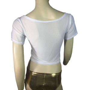 White Mesh Cropped Tee Shirt Top - Peridot Clothing