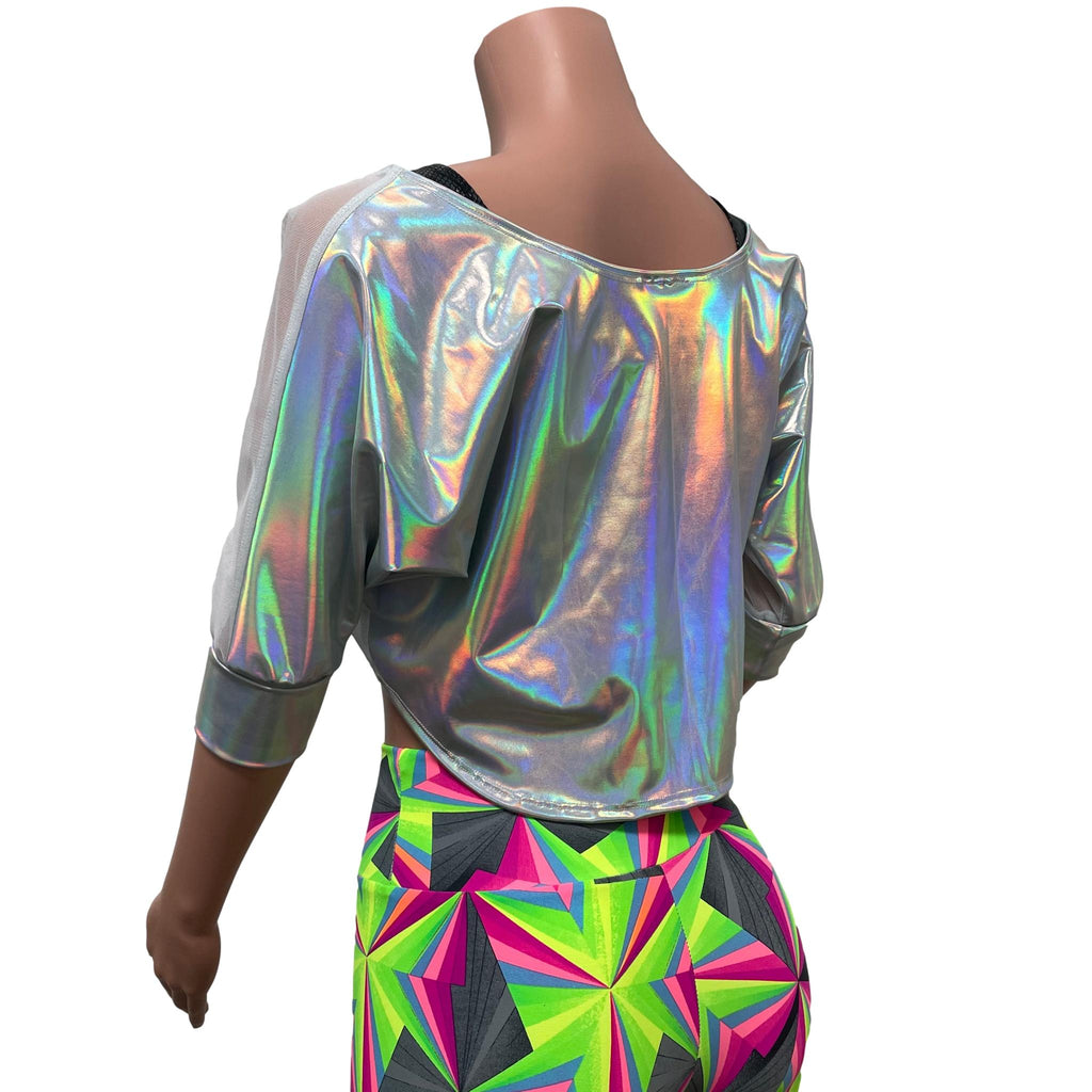 Dolman Crop Top in Opal Holographic and White Mesh | Loose Tee Rave Top - Peridot Clothing