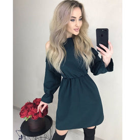 2020 Autumn Women Solid Ruffle Mini Dress