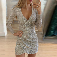 Load image into Gallery viewer, VIEUNSTA Sexy Silver Glitter Dresses