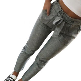Women Fashion Plaid Pleated High Waist Skinny Pencil Pants