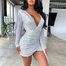 Load image into Gallery viewer, Lady Sequin Glitter Shiny Club Mini Dress Women Sexy Deep V