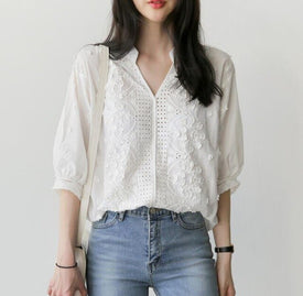 New white shirt half sleeve Embroidery blouse hollow out Women's clothing