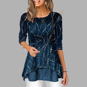 Plus Size 5XL O Neck 3/4 Sleeve Women's Tunics Dot Print Female Tunic Blouses