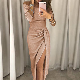 VIEUNSTA Sexy Off Shoulder Party Dress Women High Slit
