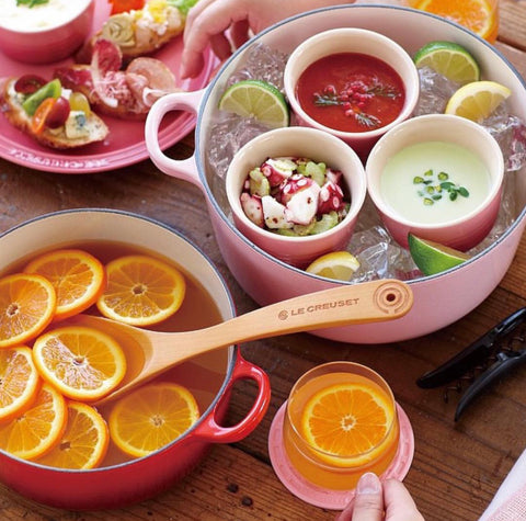 Le Creuset used to serve chilled drinks and fruits