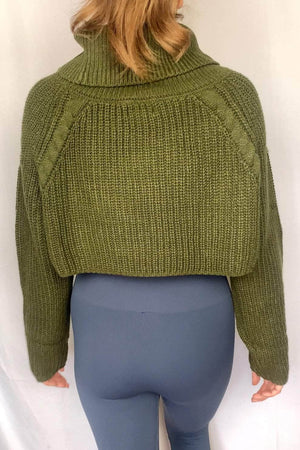 Liberated Society Fashion Lovely Cropped Turtle Neck Sweater Tops