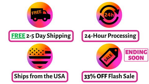 Free 2-5 day shipping 24 hour processing ships from the USA 33% off flash sale ending soon