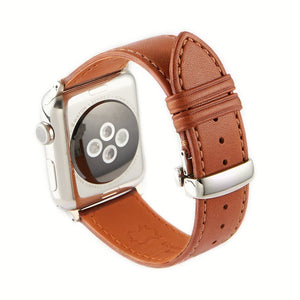 Apple Watch Barenia Leather Strap - Brown (Butterfly Buckle)