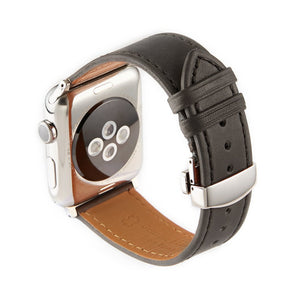 Apple Watch Barenia Leather Strap - Gray (Butterfly Buckle)
