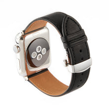 Load image into Gallery viewer, Apple Watch Barenia Leather Strap - Black (Butterfly Buckle)
