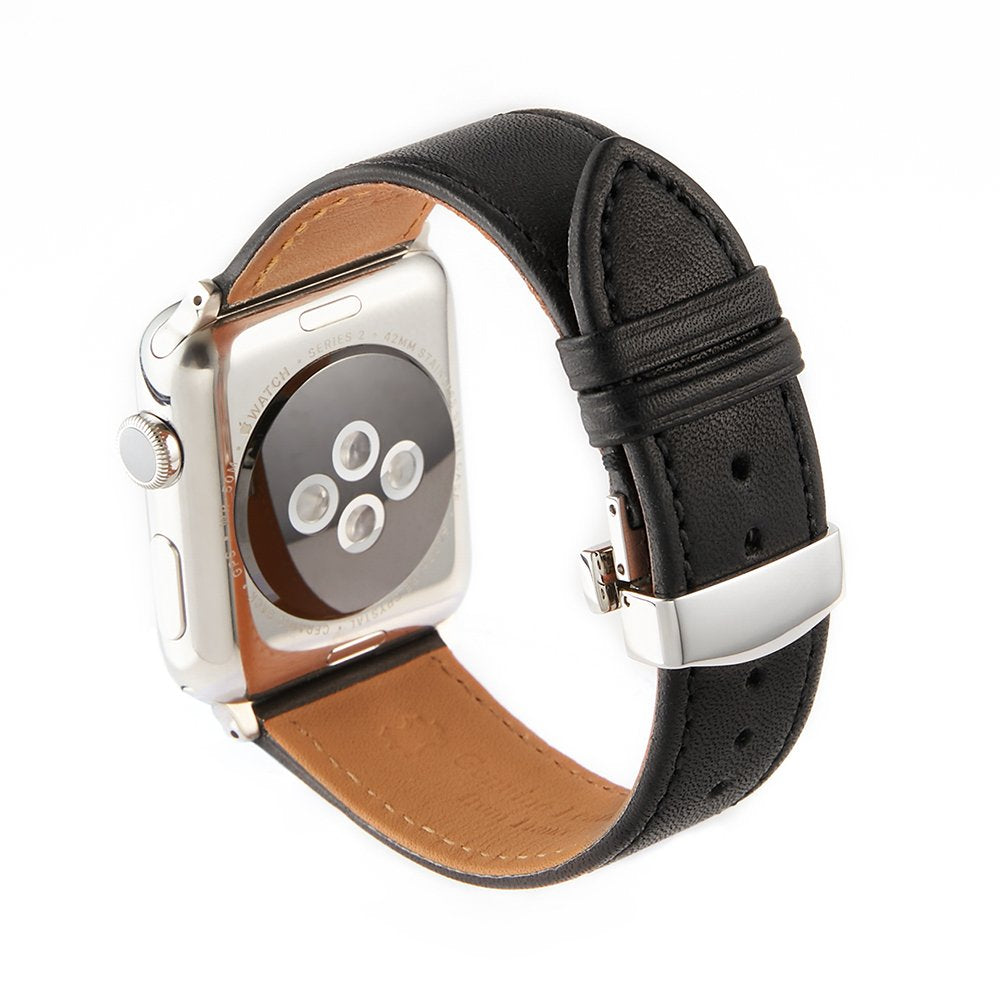 Apple Watch Barenia Leather Strap - Black (Butterfly Buckle)