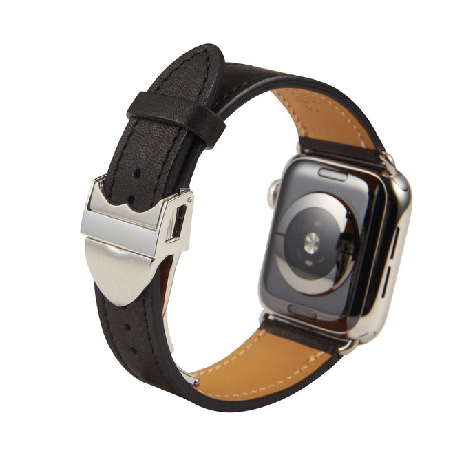 Apple Watch Barenia Leather Strap - Black (Deployment Buckle)