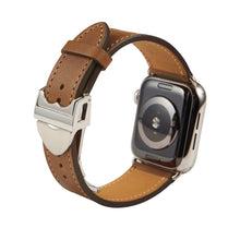 Load image into Gallery viewer, Apple Watch Barenia Leather Strap - Brown (Deployment Buckle)