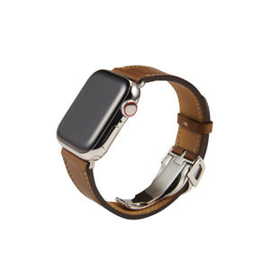 Apple Watch Barenia Leather Strap - Brown (Deployment Buckle)
