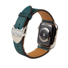 Load image into Gallery viewer, Apple Watch Barenia Leather Strap - Emerald (Deployment Buckle)