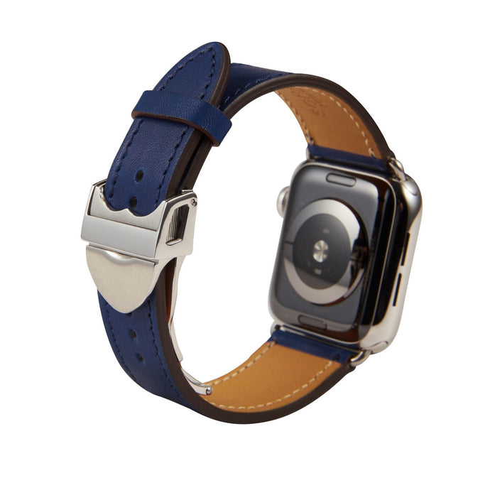 Apple Watch Barenia Leather Strap - Navy (Deployment Buckle)