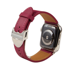 Apple Watch Barenia Leather Strap - Pink (Deployment Buckle)