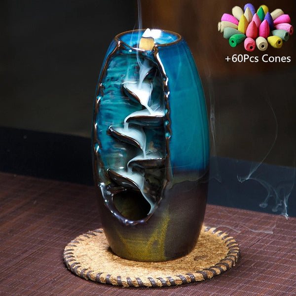 Ceramic Waterfall Backflow Incense Holder Burner - Trendz Again