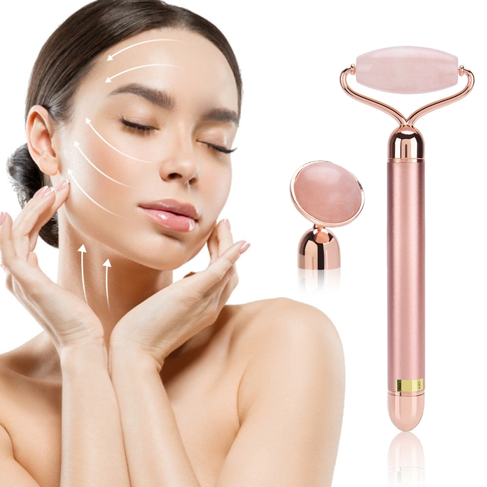 Electric Jade Roller Slimming Face Massage Lifting Vibrating Beauty Tool - Trendz Again