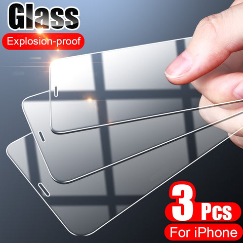 3PCS Full Cover Tempered Glass On the For iPhone 7 8 6 6s Plus X  Screen Protector On iPhone 12 X XR XS MAX 5 5s SE 11 Pro Glass