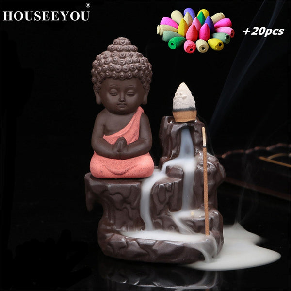 The Little Monk Small Buddha Ceramic Waterfall  Incense Burner Holder
