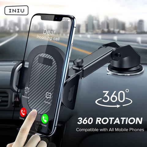 INIU Sucker Car Phone Holder Mobile Phone Holder Stand in Car No Magnetic GPS Mount Support For iPhone 12 11 Pro 8 Xiaomi Huawei