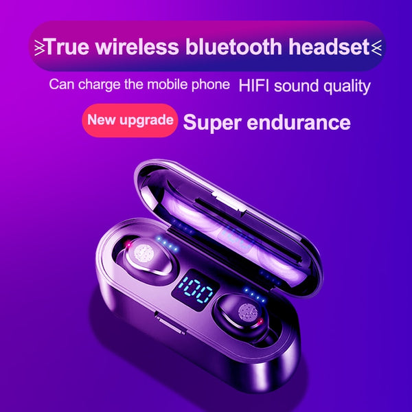 KUGE Wireless V5.0 Bluetooth Earphone HD Stereo Headphone Sports Waterproof Headset With Dual Mic and 2000mAh Battery Charge Cas